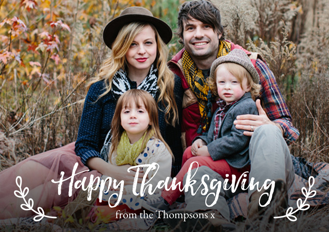 Create a personalised photo card Landscape Thanksgiving Card Illustrated Script