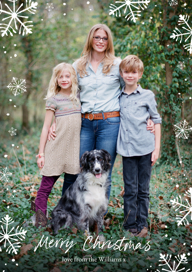Create a Real Photo Snowflakes | Portrait Photo Christmas Card Card