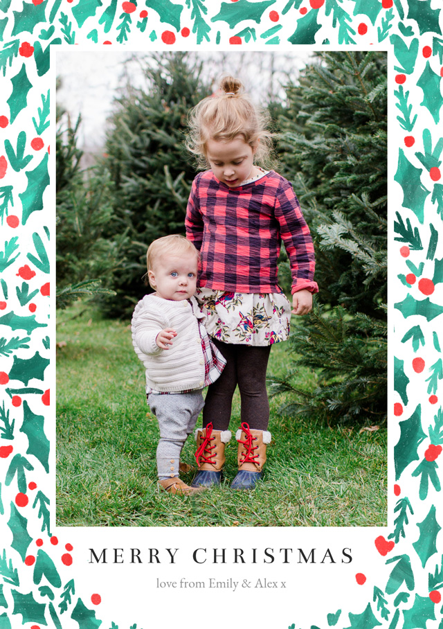 Create a personalised photo card Holly | Portrait Photo Christmas Card