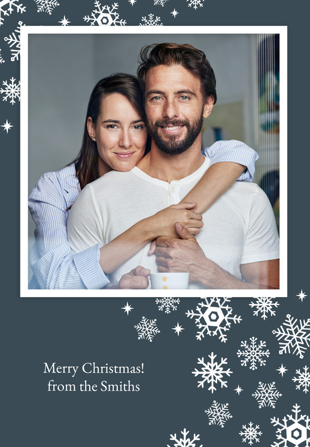 Create a Real Photo Merry Snowflakes | Portrait Photo Christmas Card Card