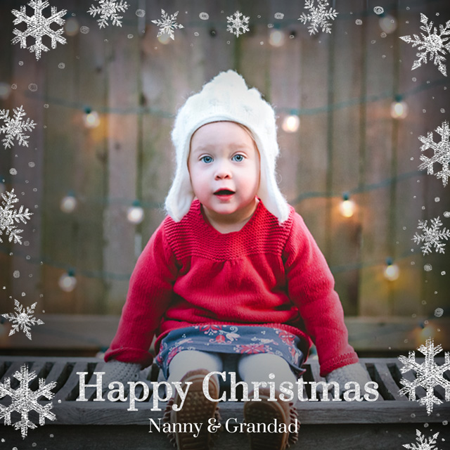Create a Real Photo Original Snowflakes | Square Photo Christmas Card Card
