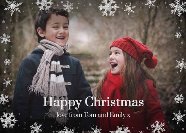Snowflake Flurry Personalised Christmas Card