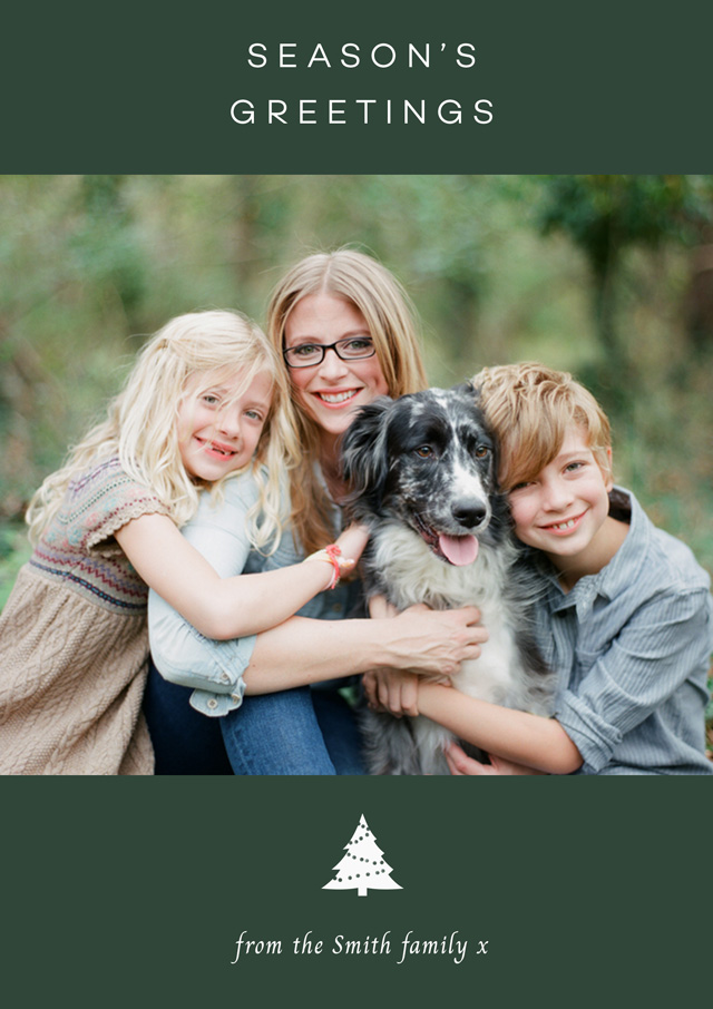 Create a personalised photo card Xmas Tree | Portrait Photo Christmas Card