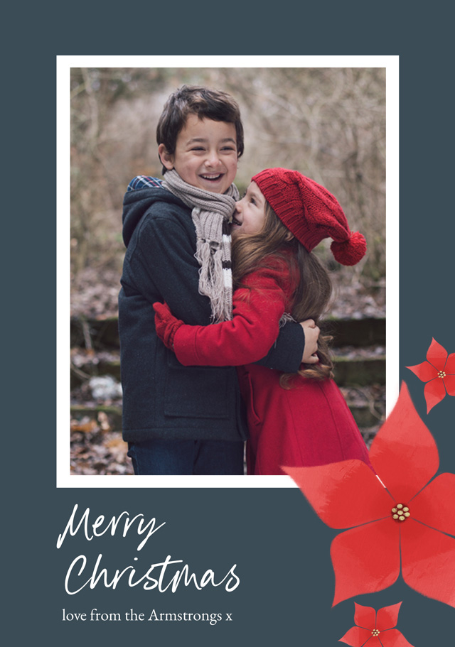 Create a personalised photo card Poinsettia Flowers | Portrait Photo Christmas Card