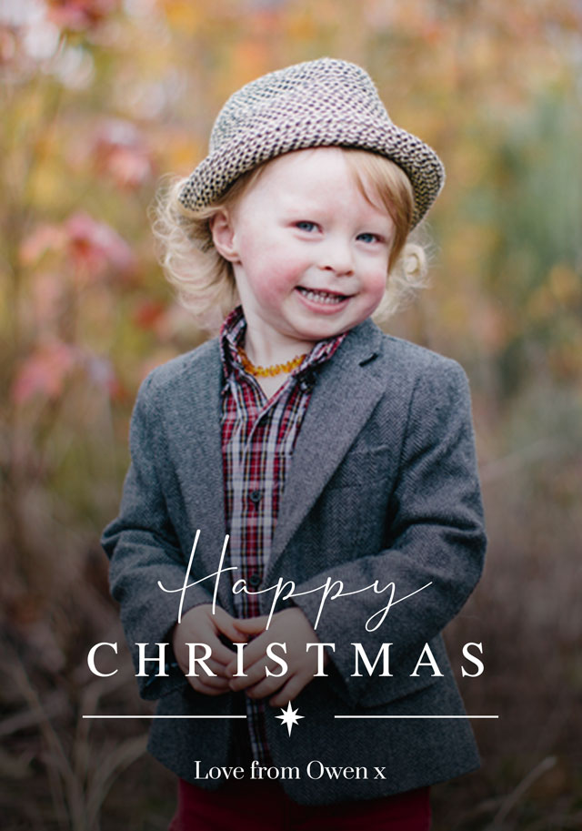 Create a Real Photo Classic Script | Portrait Photo Christmas Card Card
