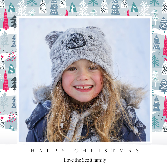 Create a personalised photo card Festive Trees | Square Photo Christmas Card