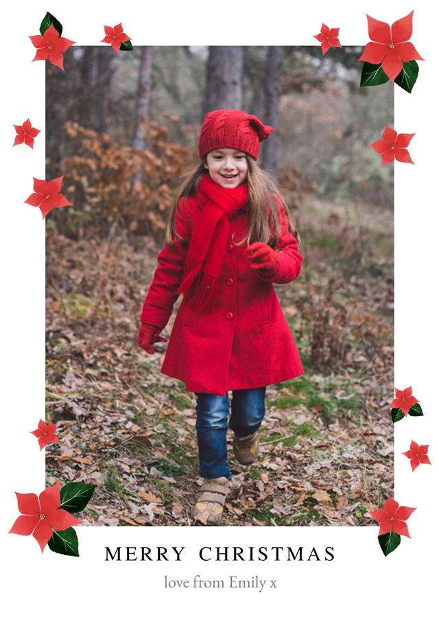Create a personalised photo card Poinsettias | Portrait Photo Christmas Card