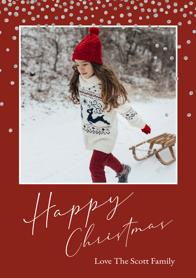 Create a personalised photo card Snow | Portrait Photo Christmas Card