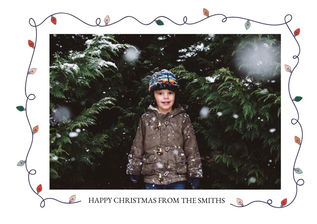 Create a personalised photo card Fairy Lights | Landscape Photo Christmas Card