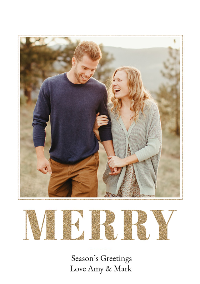 Create a personalised photo card Merry | Portrait Photo Christmas Card