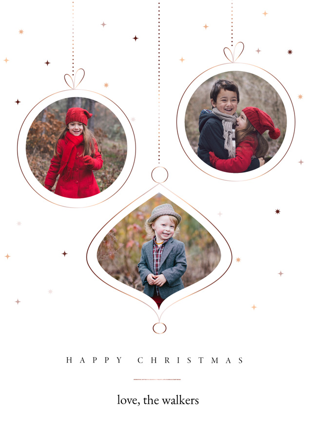 Create a Real Photo Baubles | Portrait Photo Christmas Card Card
