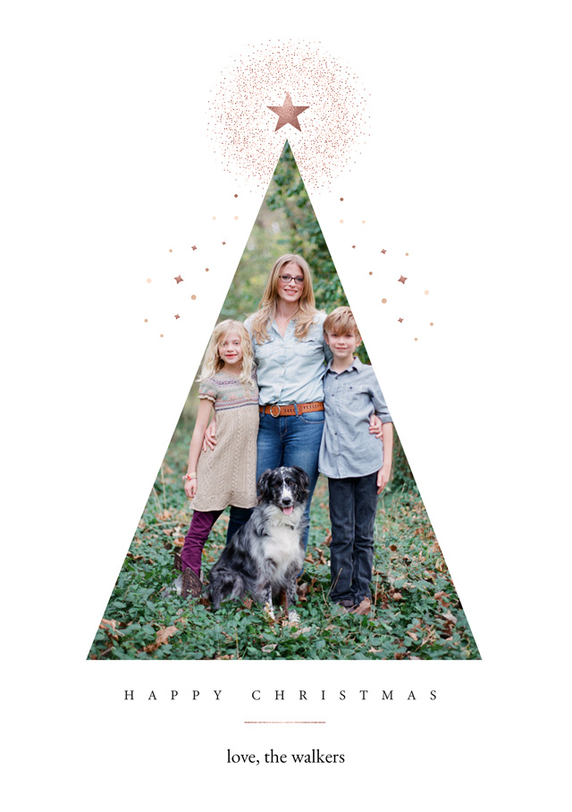 Create a personalised photo card Festive Tree | Portrait Photo Christmas Card