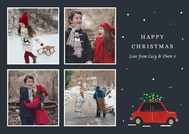 Create a Real Photo Photo Christmas Cards With Red Truck Card