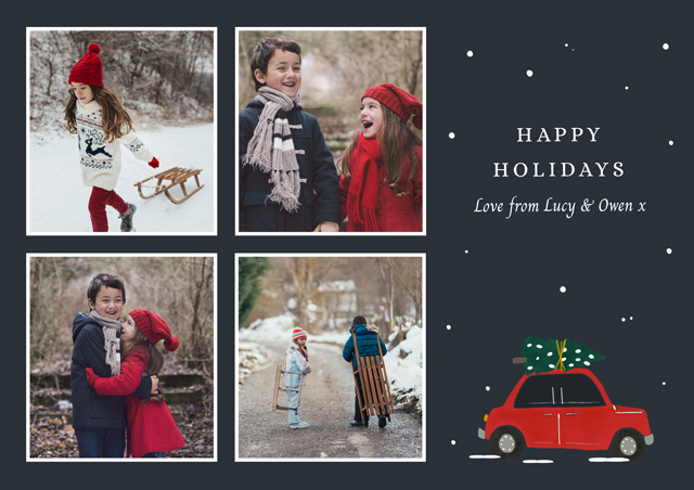 Create a personalised photo card Holiday Car | Landscape Photo Christmas Card