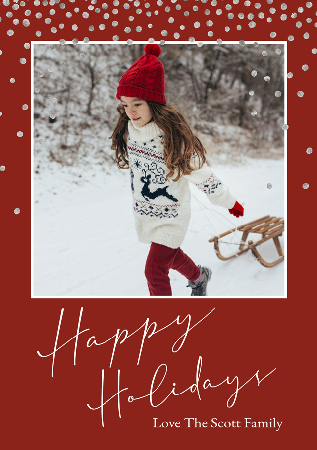 Create a Real Photo Holiday Snow | Portrait Photo Christmas Card Card