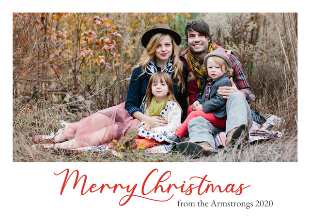 Create a personalised photo card Modern Script | Landscape Photo Christmas Card