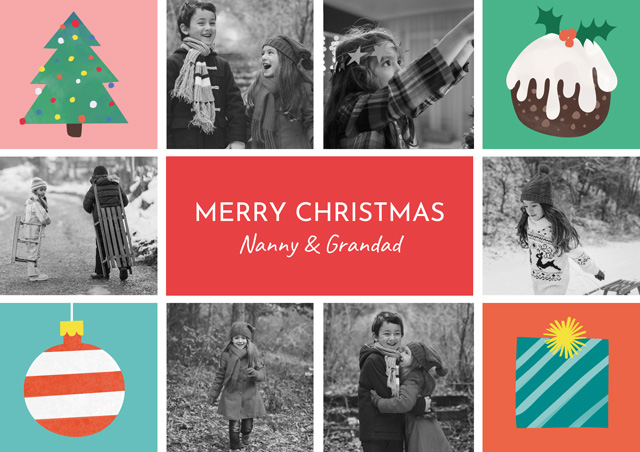 Create a Real Photo Xmas Illustrations Collage | Portrait Photo Christmas Card Card
