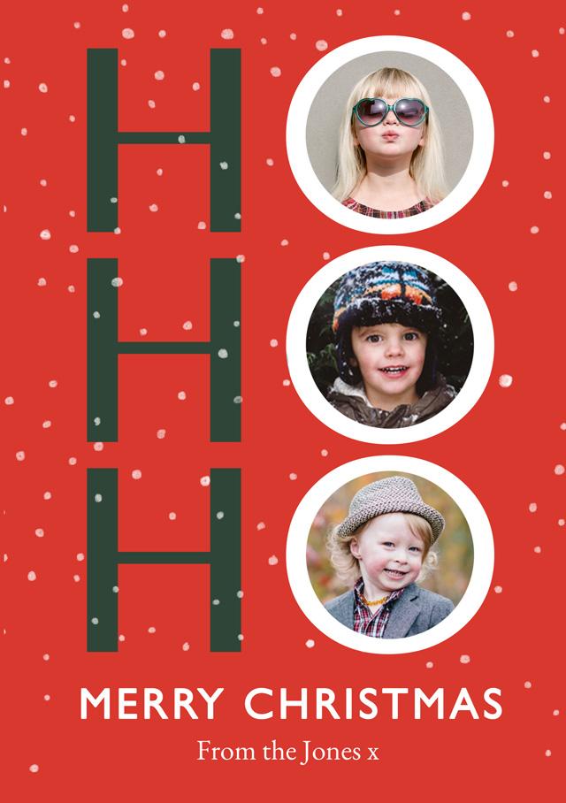 Create a Real Photo Ho Ho Ho | Portrait Photo Christmas Card Card