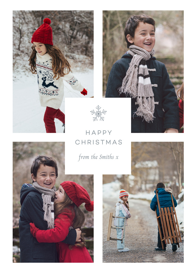 Create a Real Photo Solitary Snowflake | Portrait Photo Christmas Card Card