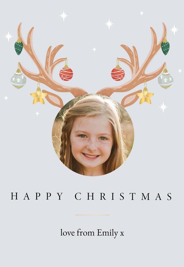 Create a Real Photo Santas Reindeer Christmas Card Card
