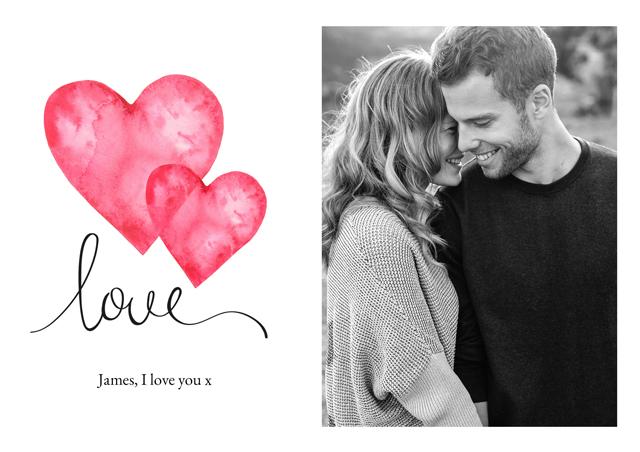 Create a Real Photo Photo Card Valentines Watercolour Love Card