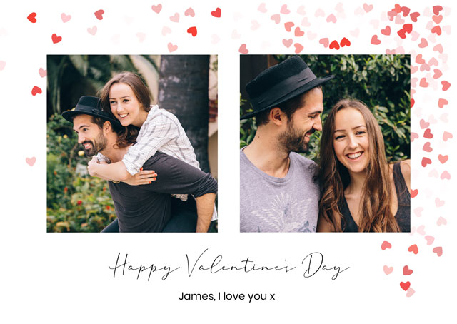 Create a Real Photo Photo Card Valentines Array Of Hearts Card