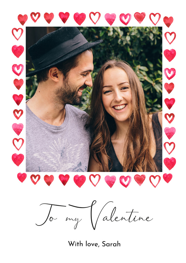 Create a Real Photo Photo Card Valentines Border Card