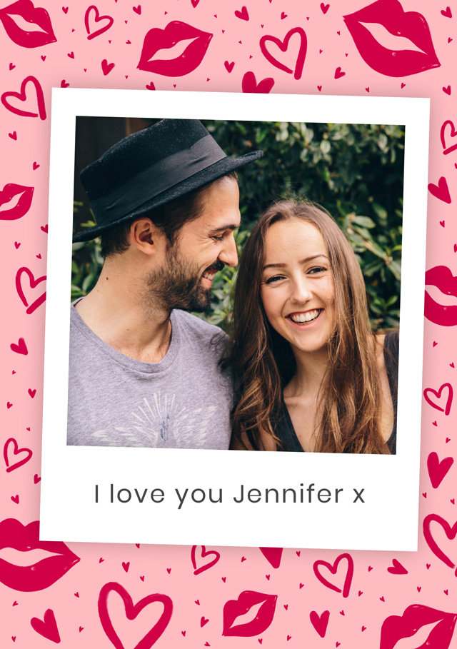Create a Real Photo Photo Card Valentines Hot Lips Card