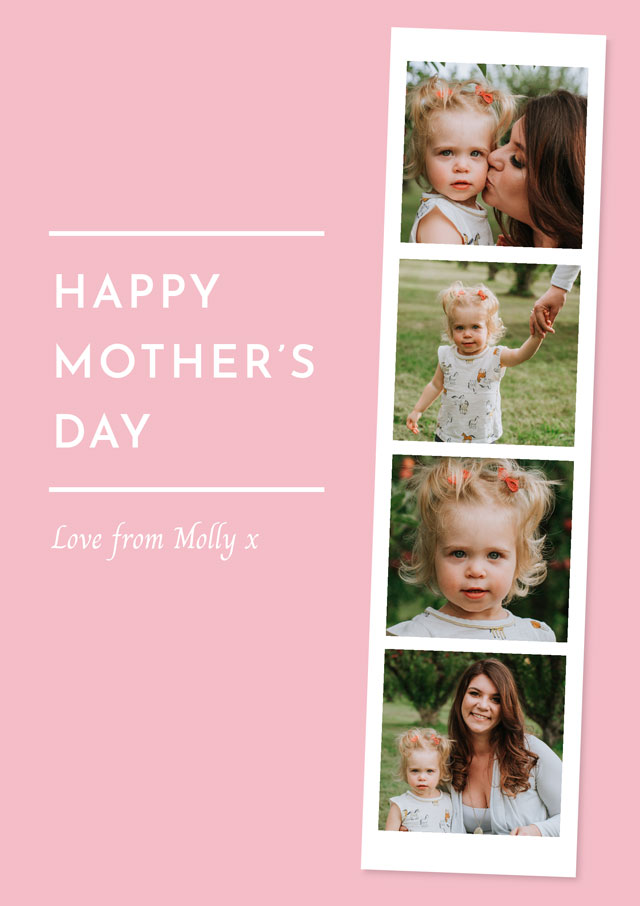 Create a Real Photo Photo Mother's Day Card Photo Strip Card