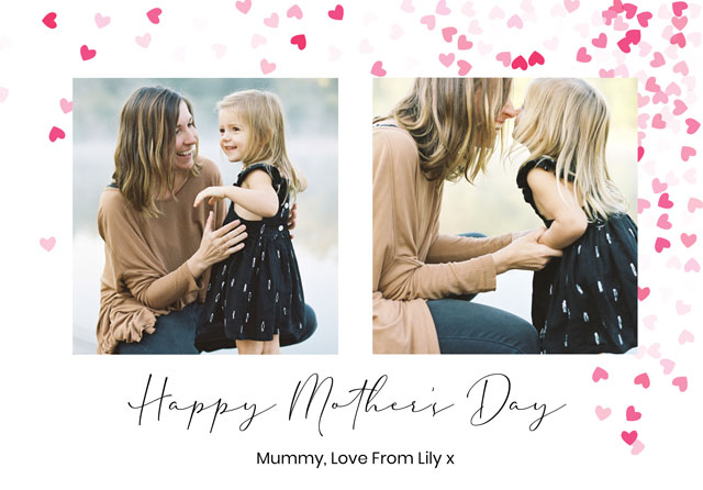 Create a Real Photo Photo Mother's Day Card Heart Collage Heart Confetti Card