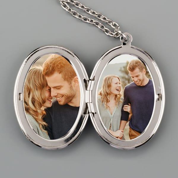 Oval Locket With Photos - Custom Size Photo Prints