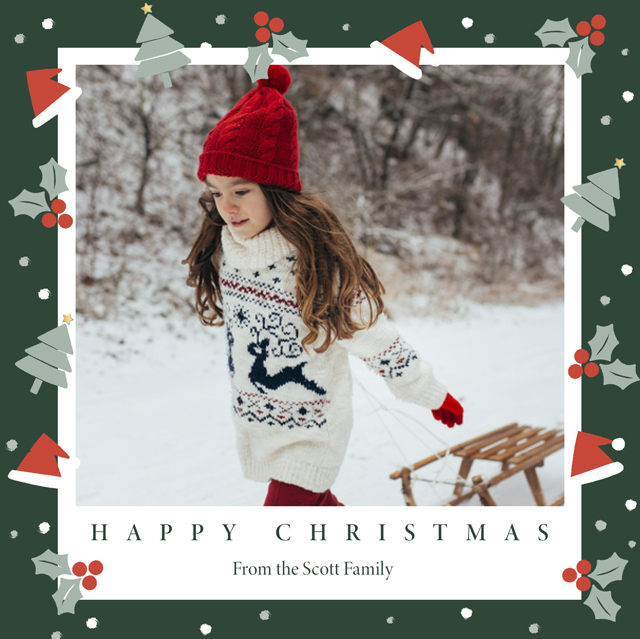 Bobble Hats Personalised Christmas Card