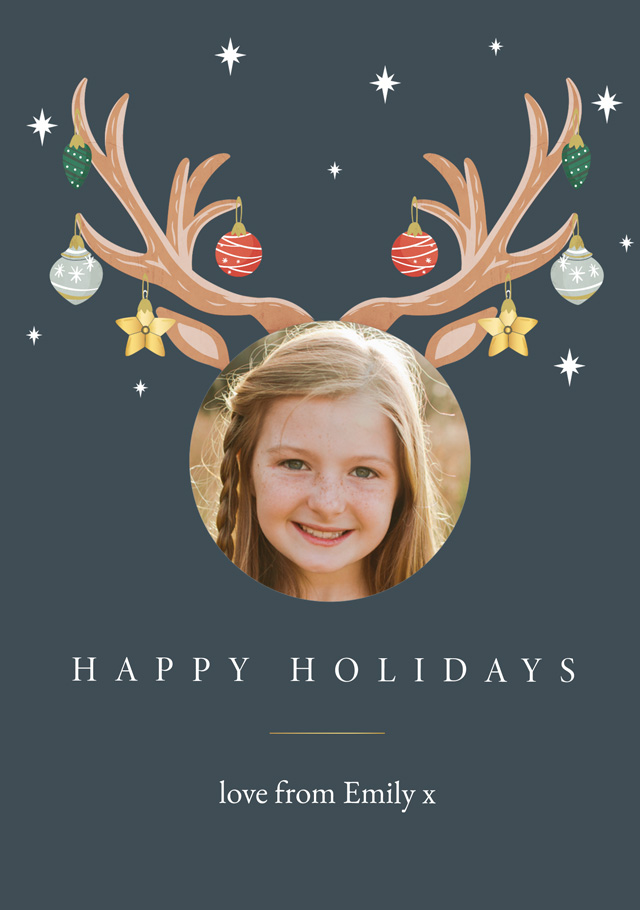 Antler Baubles Personalized Holiday Card