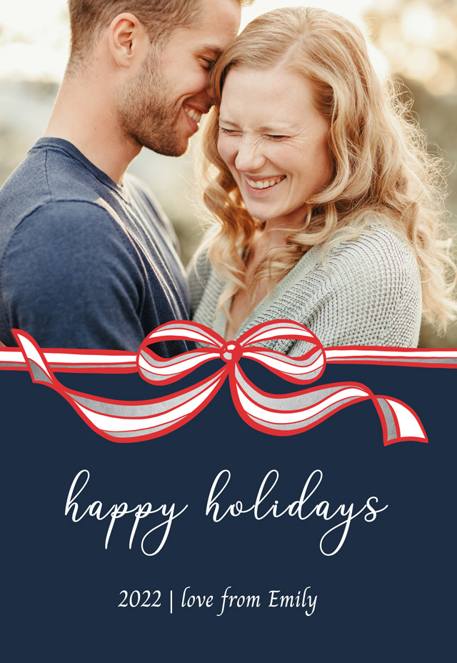 Festive Bow Personalized Holiday Card