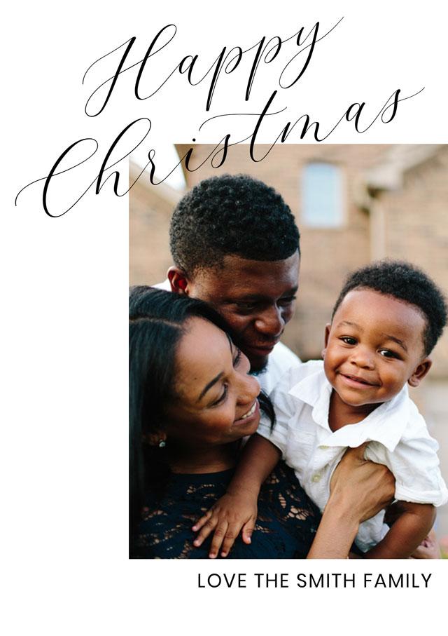 Simply Script Personalised Christmas Card