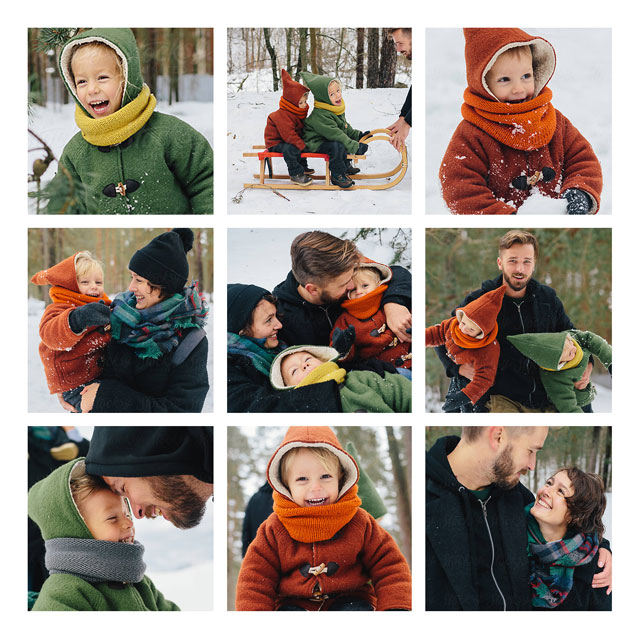 9 Photo Collage Personalised Christmas Card