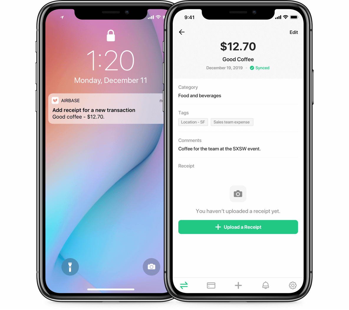 Screenshot of the Airbase mobile app which allows cardholders to upload receipts and categorize expenses without having to create an expense report