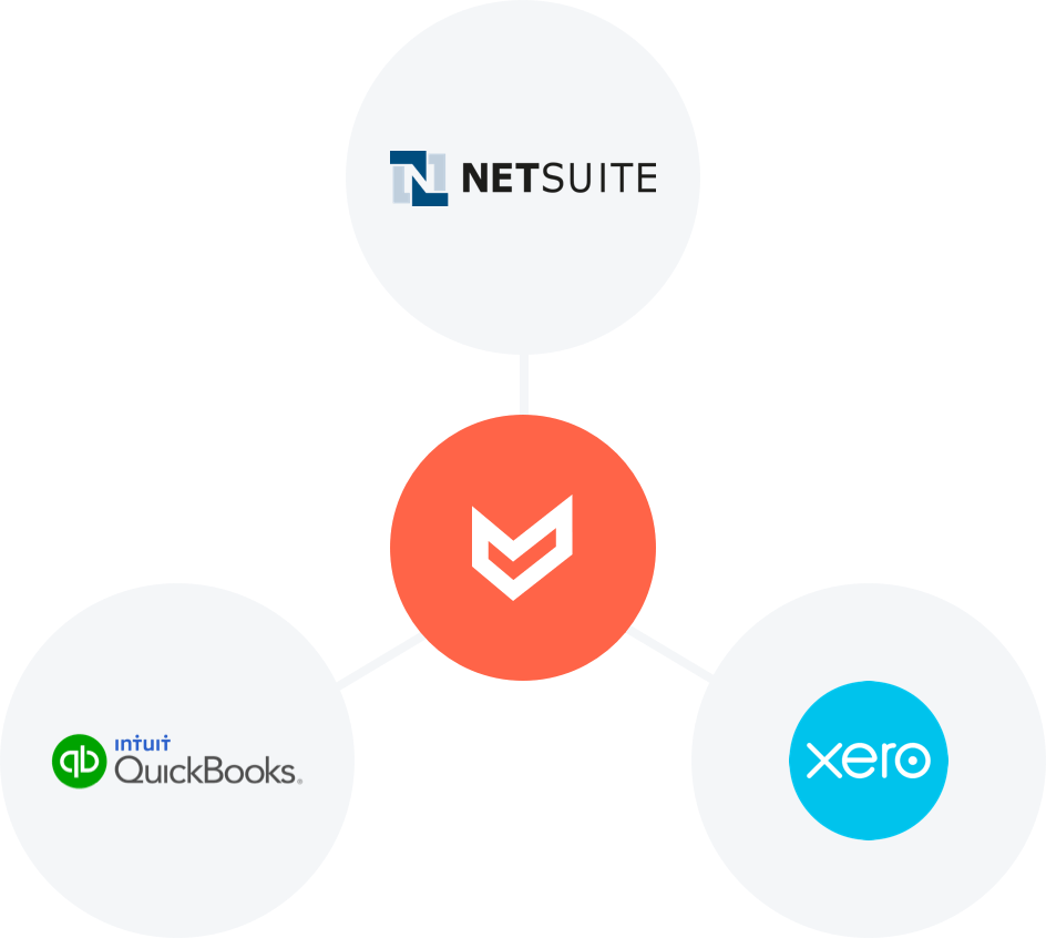 Airbase connected to the the three major general ledgers — Quickbooks, Xero, and Netsuite