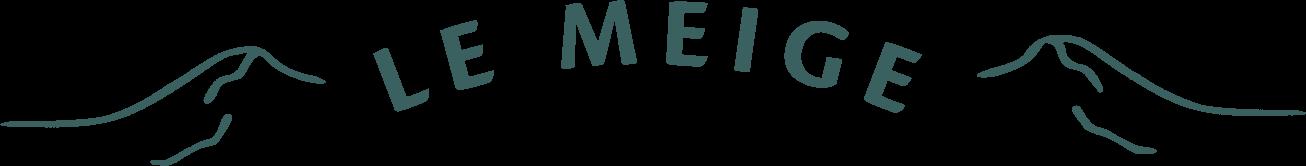 Logo - montagnes entourant l'écriture Le Meige en arc de cercle