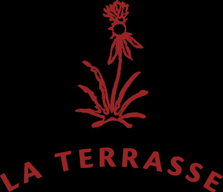 """Logo - Fleur de chardon surplombant l'écriture """"La Terrasse"""" en arc de cercle"""