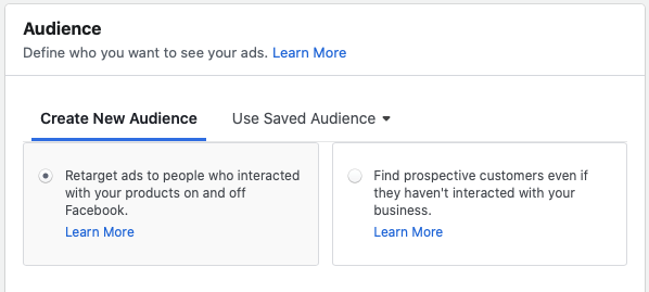 retargeting ads on Facebook
