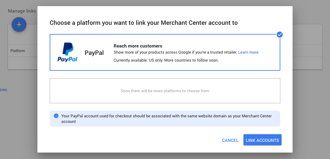 Enhanced listings for surfaces across google paypal integration merchant center