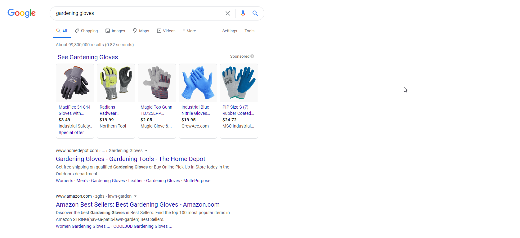 Google shopping ads on search results
