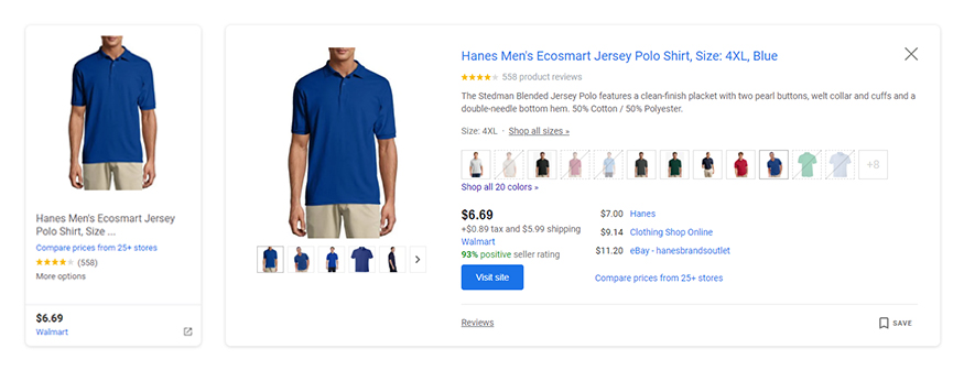 key product attributes visible on google shopping