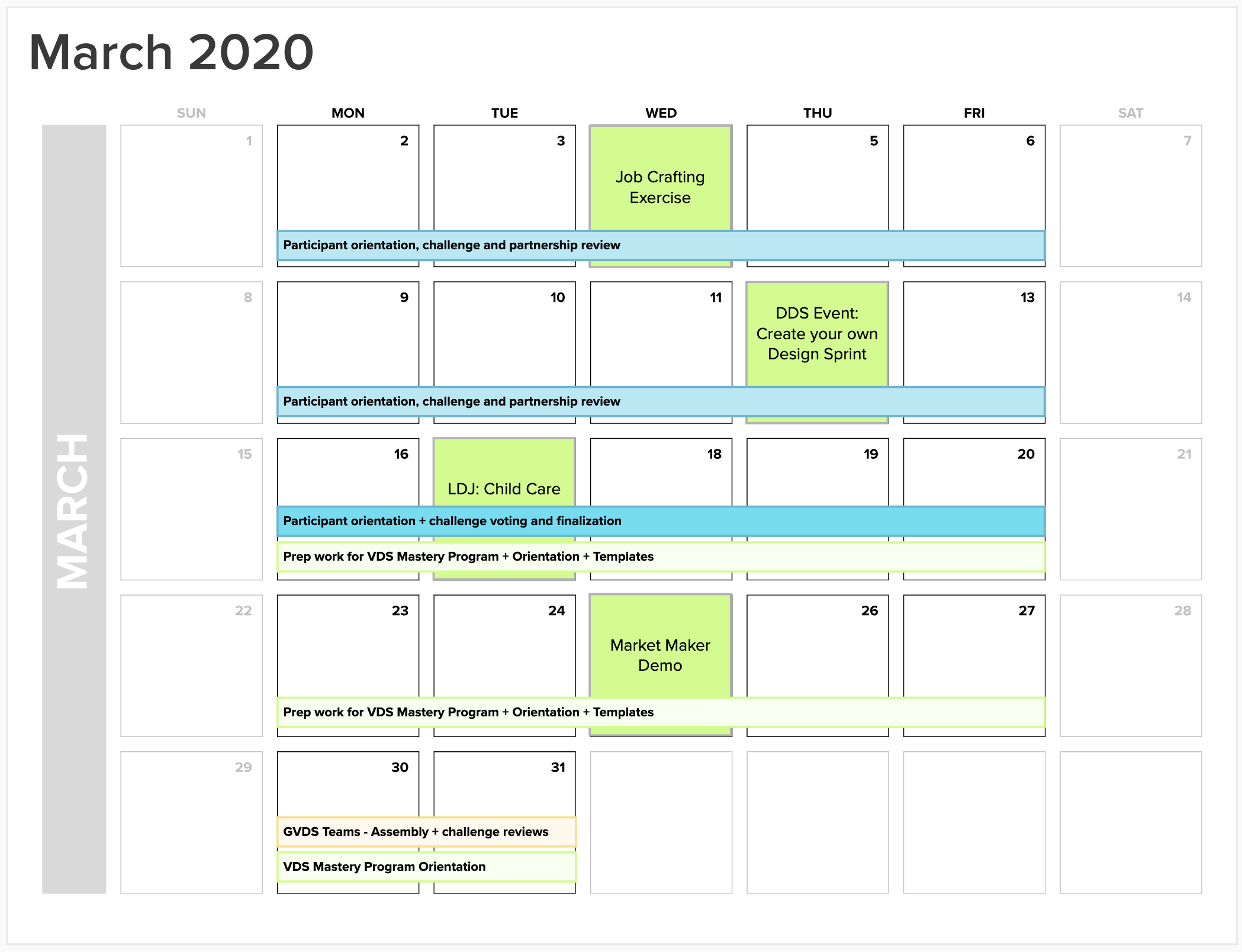 The GVDS 4.0 Schedule of Events