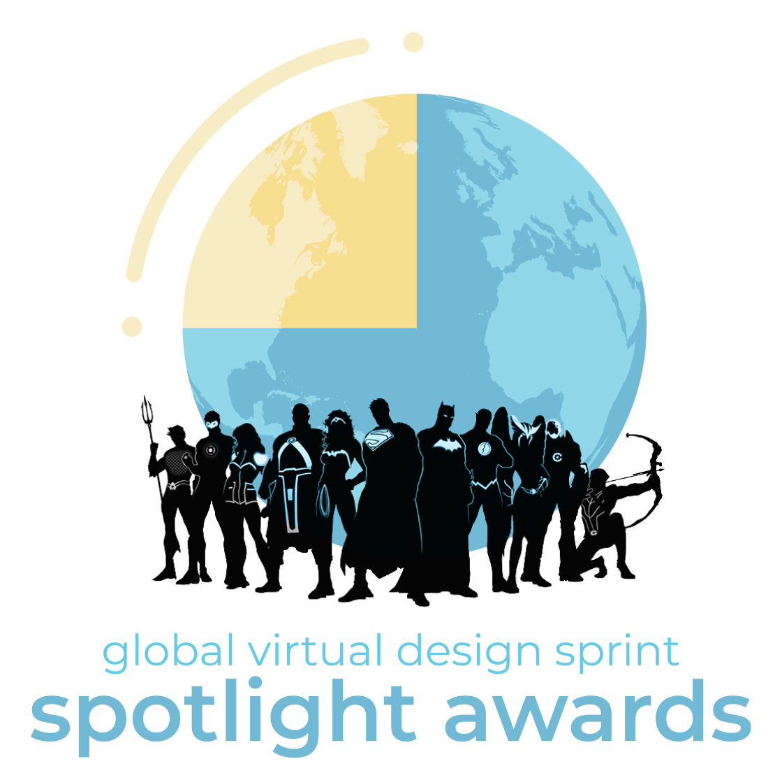 A Spotlight Award logo with some silhouetted super heroes in front of it.
