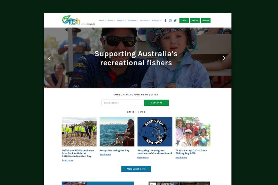 A front-end design and rebuild of a fishing website on Wordpress CMS.