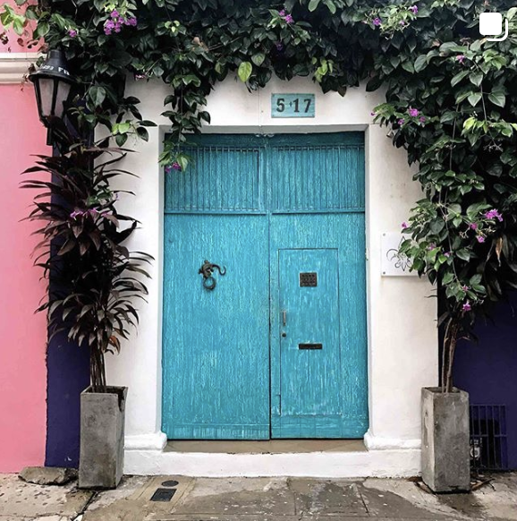 Colorful door in Cartagena