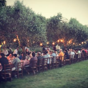 outdoor dinner in Tuscany