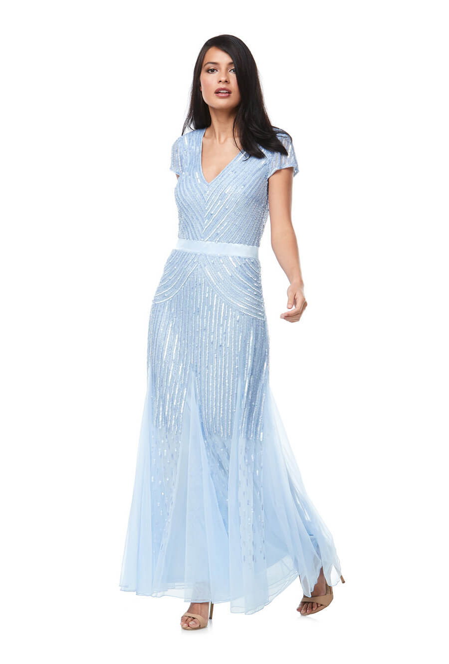 Long cap sleeve beaded gown with satin waistband & fishtail skirt